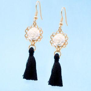 Black and White Floral Boho Tassel Earrings